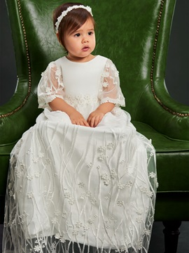 Embroidery Lace Baby Girl's Christening Gown