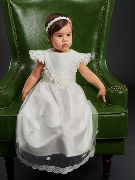 Fancy Lace Cap Sleeves Flowers Baby Girl's Christening Gown
