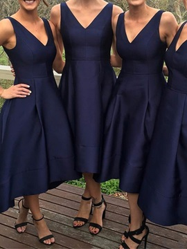 Simple Matte Satin High Low Bridesmaid Dress