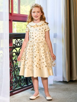 Turn-down Collar Short Sleeves Sequins Girl Party Dress