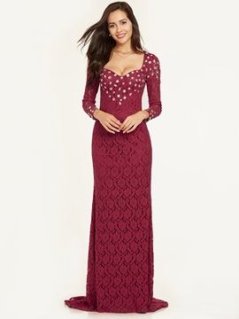 Elegant Sweetheart Beaded Lace Mermaid Evening Dress