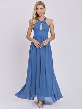 Halter Neck A Line Evening Dress
