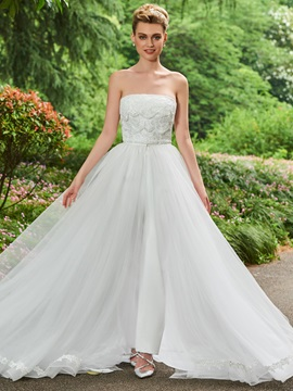 Strapless Lace Wedding Jumpsuits with Train