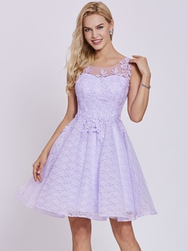 Scoop Neck Lace Appliques A Line Homecoming Dress