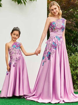 Parent-Child One Shoulder Appliques Girls Party Dress