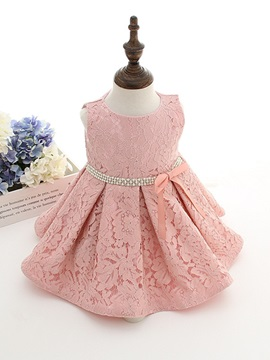 Beautiful Straps Bow Diamand Belt Baby Christening Gown