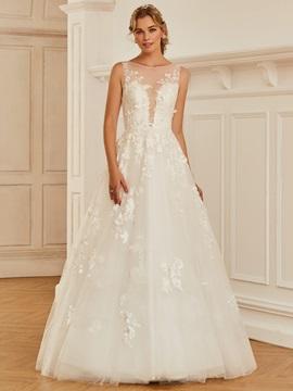 Fancy Bateau Neck Appliques Button Wedding Dress