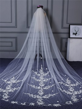 Amazing One Layer Appliques Flowers Wedding Veil