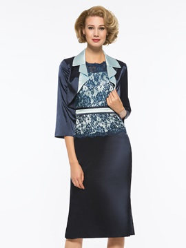 Column Lace Knee-Length Mother of the Bride Dress with Jacket