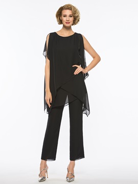 Cool Scoop Neck Chiffon Mother of the Bride Pantsuits