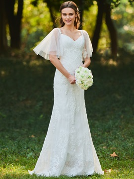 Mermaid Beaded Lace Wedding Dress with Sleeves