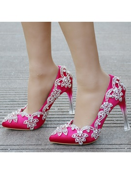 PU Slip-On Rhinestone Pointed Toe Wedding Shoes
