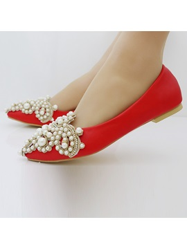 PU Beads Rhinestone Slip-On Pointed Toe Wedding Shoes