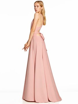 V Neck Backless A Line Pleats Evening Dress