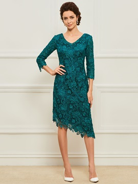 3/4 Length Sleeve Lace Asymmetrical Mother Dress
