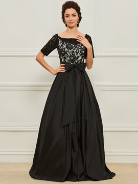 Lace Top Bateau Neck Mother Dress with Sleeves