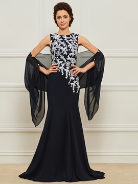 Appliques Long Mother of the Bride Dress with Shawl