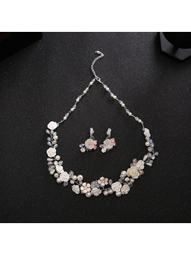 Pearl Inlaid Flower Shape Sweet Two-Piece Wedding Jewelry Sets