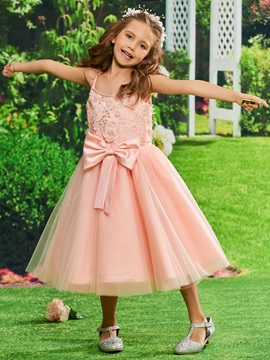 Spaghetti Straps Appliques Ankle-Length Girls Party Dress