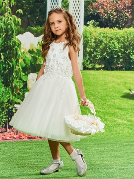 Amazing Straps Flowers Girls Party Dress