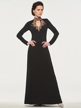 Beaded High Neck Column Mother of the Bride Dress