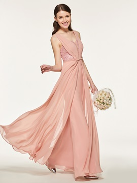 Straps Beading Lace Bridesmaid Dress