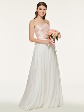Strapless Pleats Beading Sashes Bridesmaid Dress