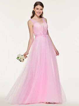 Straps Appliques Beading Bridesmaid Dress
