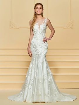 Sheer Neck Appliques Mermaid Wedding Dress