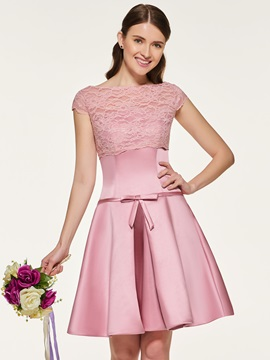Cap Sleeves Bowknot Lace Short Bridesmaid Dress