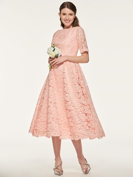 A-Line Tea-Length Lace Bridesmaid Dress