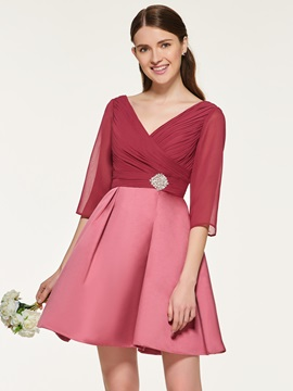 Pleats Short Bridesmaid Dress with Sleeve