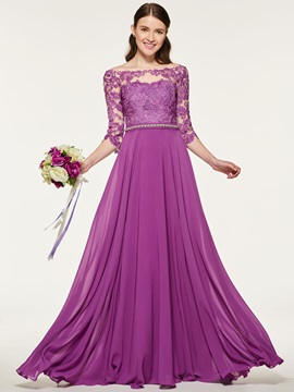 3/4 Length Sleeve Appliques Beading Bridesmaid Dress