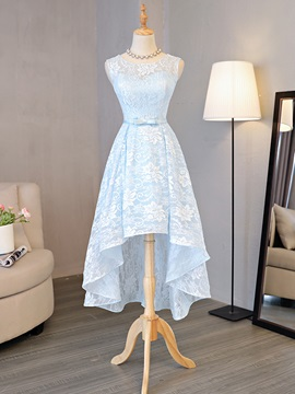 Scoop Neck Lace High Low Beach Bridesmaid Dress