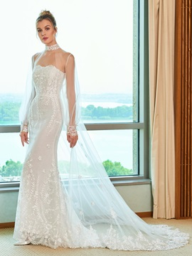 Strapless Mermaid Wedding Dress with Long Sleeve Jacket