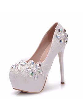 Rhinestone Platform Stiletto Heel Women's Wedding Shoes