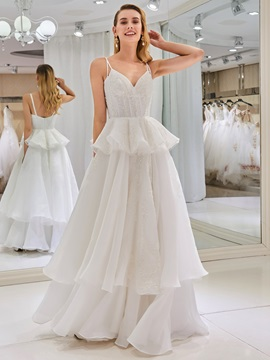 Spaghetti Straps Beading Tiered Wedding Dress