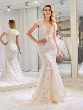 V-Neck Cap Sleeve Appliques Mermaid Wedding Dress