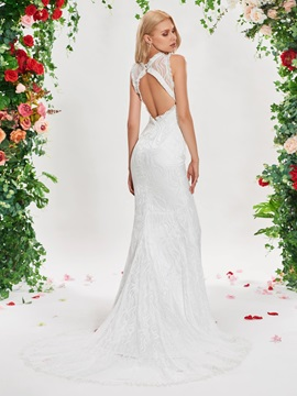 Backless Mermaid Tassel Lace Wedding Dress