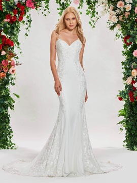 Beaded Spaghetti Straps Embroidery Lace Wedding Dress