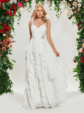 Spaghetti Straps Ruffles Lace Beach Wedding Dress