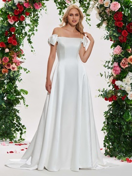 A-Line Bowknot Off the Shoulder Wedding Dress