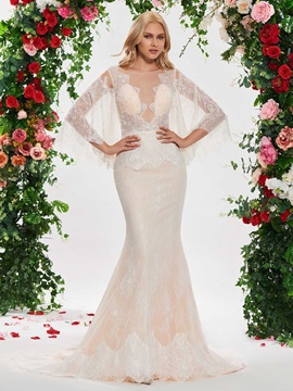 Bateau Neck Mermaid Lace Wedding Dress with Sleeve