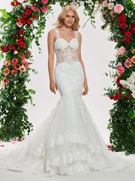 Beading Straps Appliques Mermaid Wedding Dress