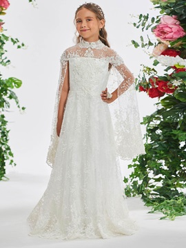 Beaded Lace High Neck Flower Girl Dress