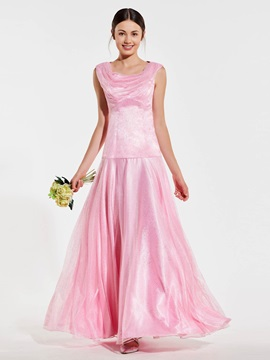 Cowl Neck Sequins Tulle Long Bridesmaid Dress