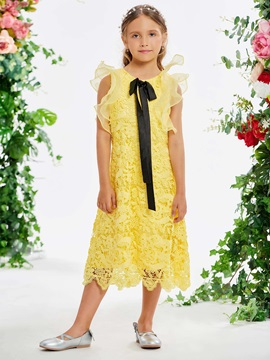 Ruffles Sleeve Lace Tea-Length Girl's Party Dress