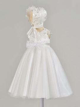 Appliques Baby Girl's Christening Dress with Hat