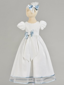 Lantern Sleeve Bowknot Lace Baby Girl's Christening Gown