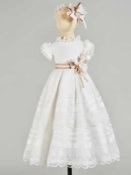 Ruffles High Neck Lace Baby Girl's Christening Gown
